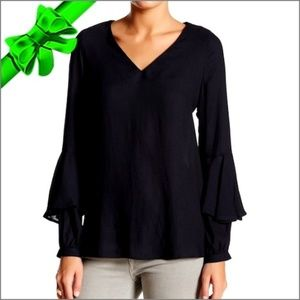 Black Ro & De Nordstrom Bell Sleeve Top Blouse